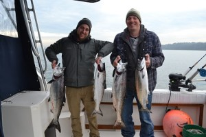 Billy and Oli with a limit of winter chinook!