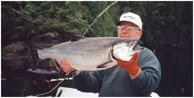 Tom Nelson with a nice King caught at Area 1, Cliffe Point
