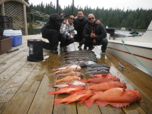 Mike, Jay, Dennis, and John with few nice Lingcod and Rockfish.