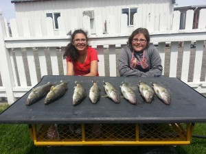 Granddaughters Ellie and Bridgette Pollack with walleye they caught Sunday from Soda lake
