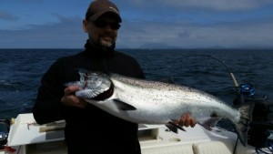 Twenty Pound Chinook landed offshore outside the Ucluelet Harbor.