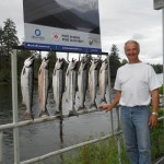 Mel of Port Alberni B.C. shows of his Sockeye catch that he and one guest  landed. The sockeye are forecast at an assessed number of 700,000 to one  million in terms of returns to the Somass River. Currently the Sockeye  retention is four per day with a two day possession limit of eight.
