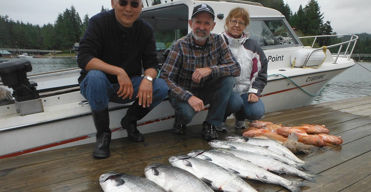 Dennis, Ron, and Valerie with nice Chinook, Coho and rockfish catch this week.