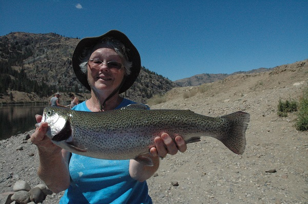Our very own CFO, Sandra Jones with a nice Rufus Triploid Rainbow.