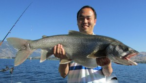 Rui Luo of Bellevue with a 20lb 15 oz Laker