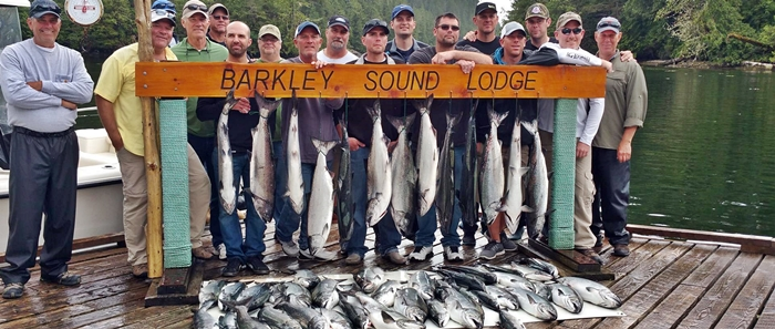 This group fished with Slivers Charters Salmon Sport Fishing out of Barkley Sound Lodge in Cigarette Cove. The group fished for two days eith most of the individuals coming from Washington State, Utah, California and Ohio. The group had six guides. These salmon were landed on the last day of fishing. Day one of fishing was also very good