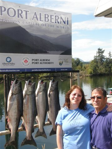 These Chinook were landed by couple from Portland Oregon fishing with doug Slivers Charters Salmon Sport Fishing in Barkley Sound just before the August 1st under 77cm rule