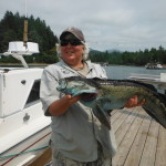 Tracy with a nice Blue Lingcod.