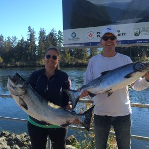 Jessica and Raymond from Victoria B.C. show off 32 and 25 pound Chinook they landed at the Bamfield Wall on September 12th 2015. These fish hit Anchovy. Guide was Doug Lindores of Slivers Charters Salmon Sport Fishing.