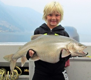 Chance Rudiger (7) of Woodinville, Wa with her 15# 14oz Bar Mack.