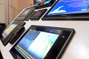 At the Garmin booth, attendees can get a hands-on demo of the latest Garmin marine electronics.