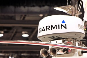 Garmin Marine radome seen on a display boat at the Seattle Boat Show.