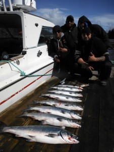 Dennis and the Guys from the mainland with their limit of 5-10 pound Chinook taken in Vernon Bay