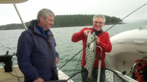 Greg Baynton and friend with a 10 lb Chinook at Coal Island