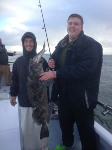 Here are some Happy customers from the Charter boat Gold Rush. They pose with their prize Ling Cod.