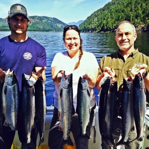 Robert of Slivers Charters Salmon Sport Fishing with guests from Idaho show their Alberni Inlet Sockeye Salmon landed in June of 2015. We are hoping the 2016 season is as remarkable