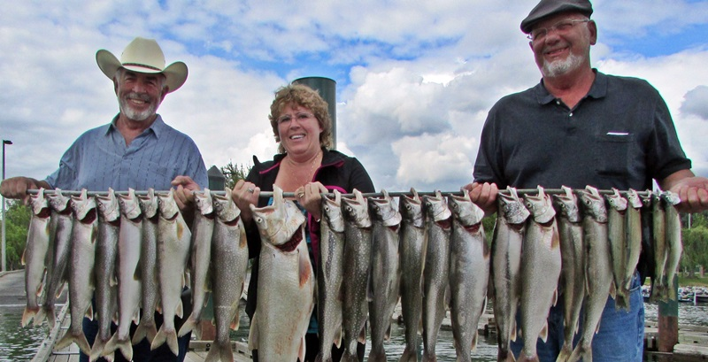 Darin and Becky Finck of Mollala, Or with their catch of Lake Chelan Kokanee and Cutthroat.