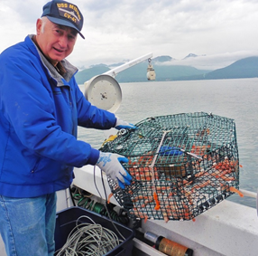 First-time shrimper, Mike Kelly with the first pot of the season.