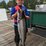 Young Floyd Holman weighed in this 14.48 lber to take an early lead in the kids division. Floyd and the rest of the Holman family of Friday Harbor were part of our crew on the new Team Parker. Alex Davis would bump Floyd from the top spot.