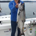 Carol Holman landed this 16.5 lb Chinook, that would be the largest weighed in by a female angler.