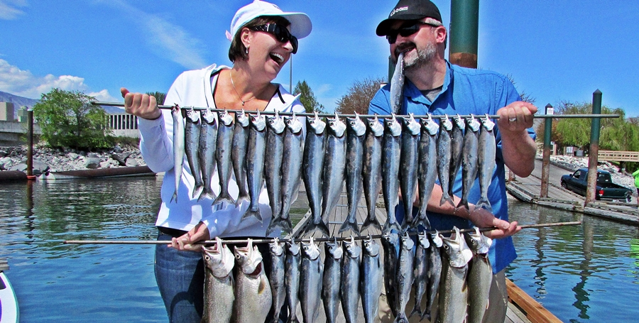 The Johnsons with their Mixed bag of Kokanee limits and Lakers having a good time on their Honeymoon!